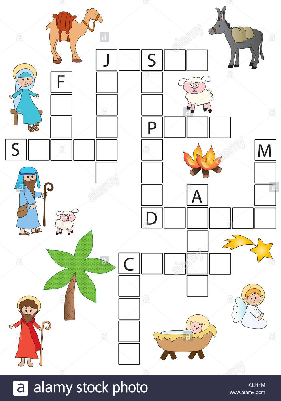 Jeu Pour Les Enfants : Mots Croisés De Noël Banque D'images intérieur Mots Croisés Noel