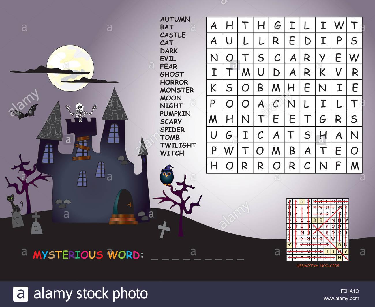 Jeu Pour Les Enfants Pour Halloween : Chercher Tous Les Mots tout Jeux De Mots A Chercher