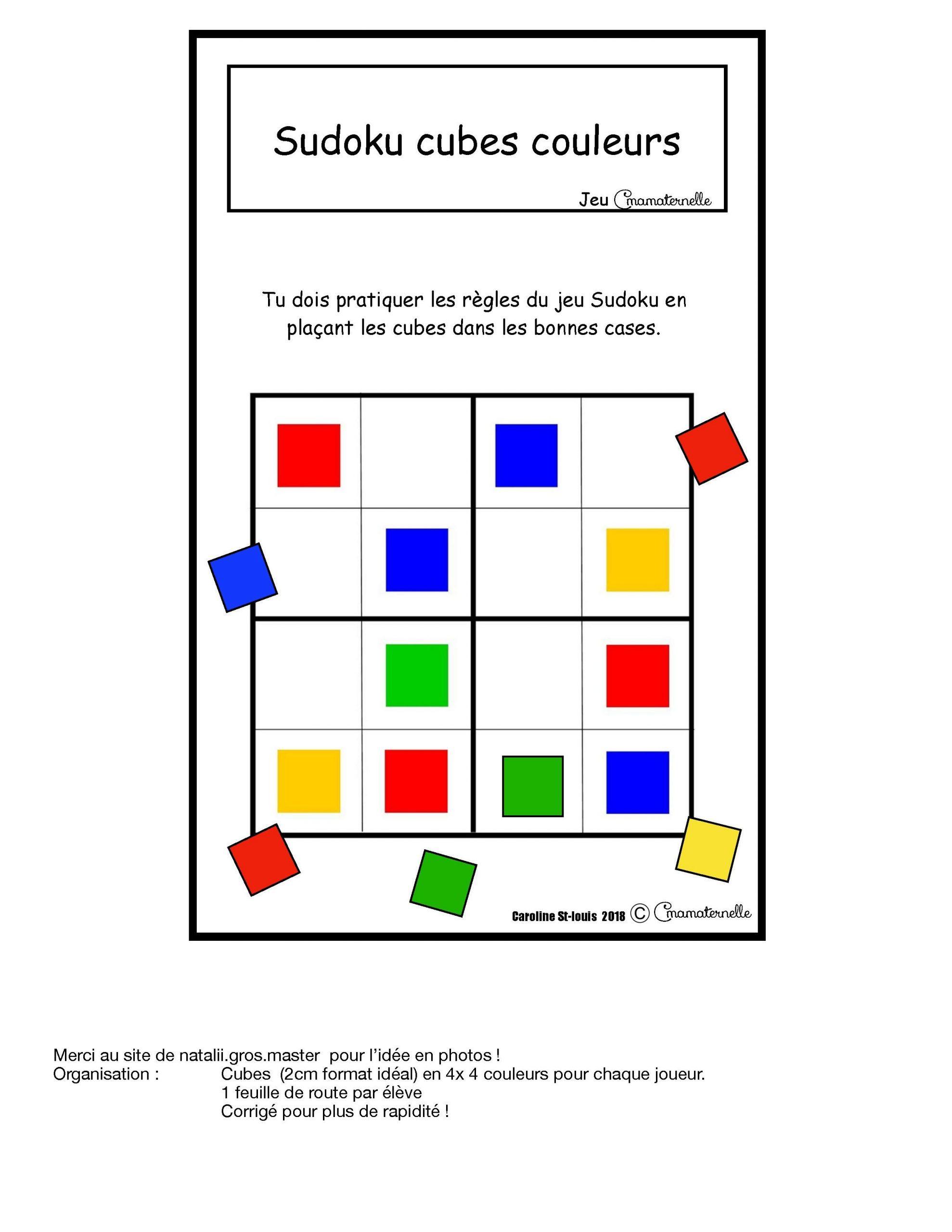 Jeu Sudoku Pour Ateliers En Maternelle Et En 1Er Année destiné Jeux Gratuit Maternelle