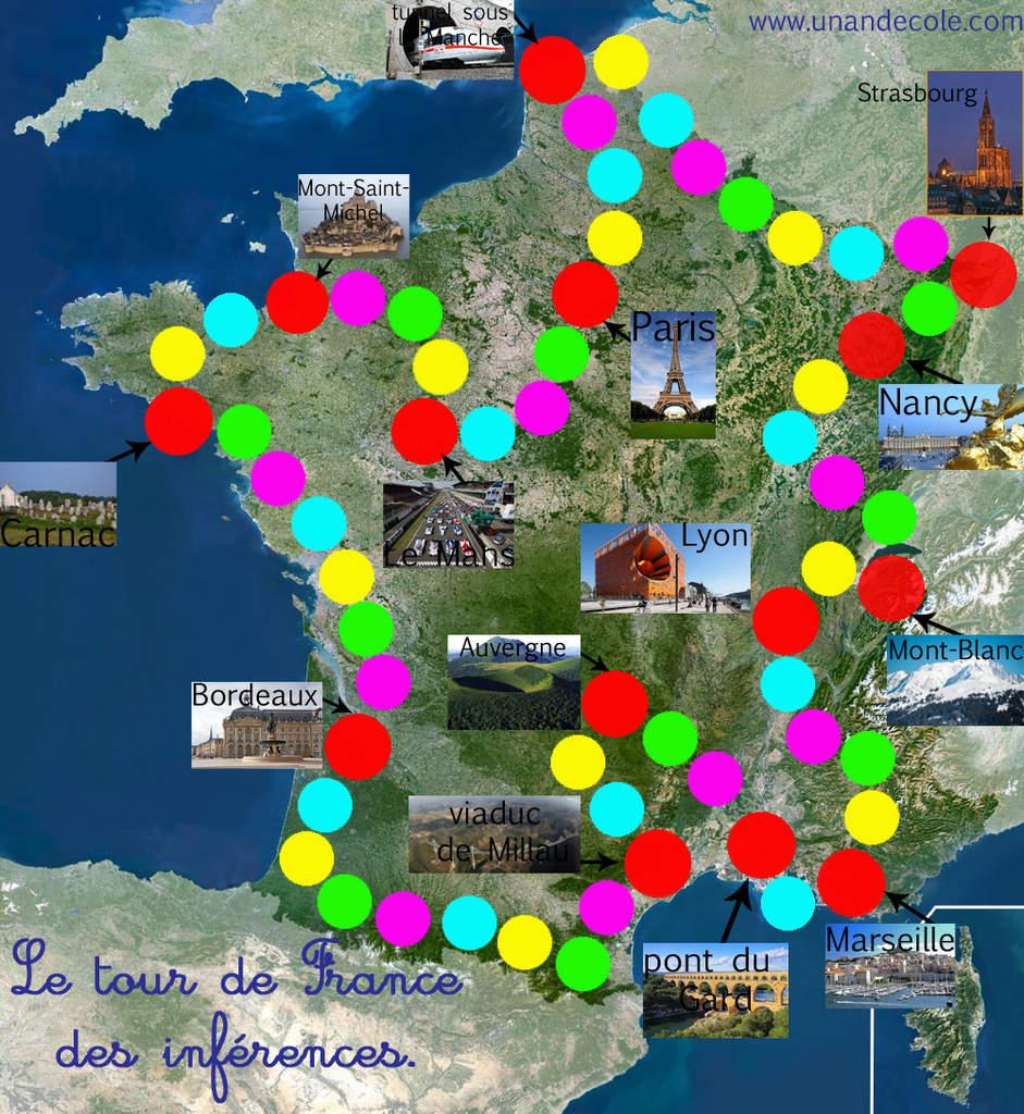 Jeu : Tour De France Des Inférences Gs, Cp, Ce1, Ulis - Un tout Jeu Carte De France