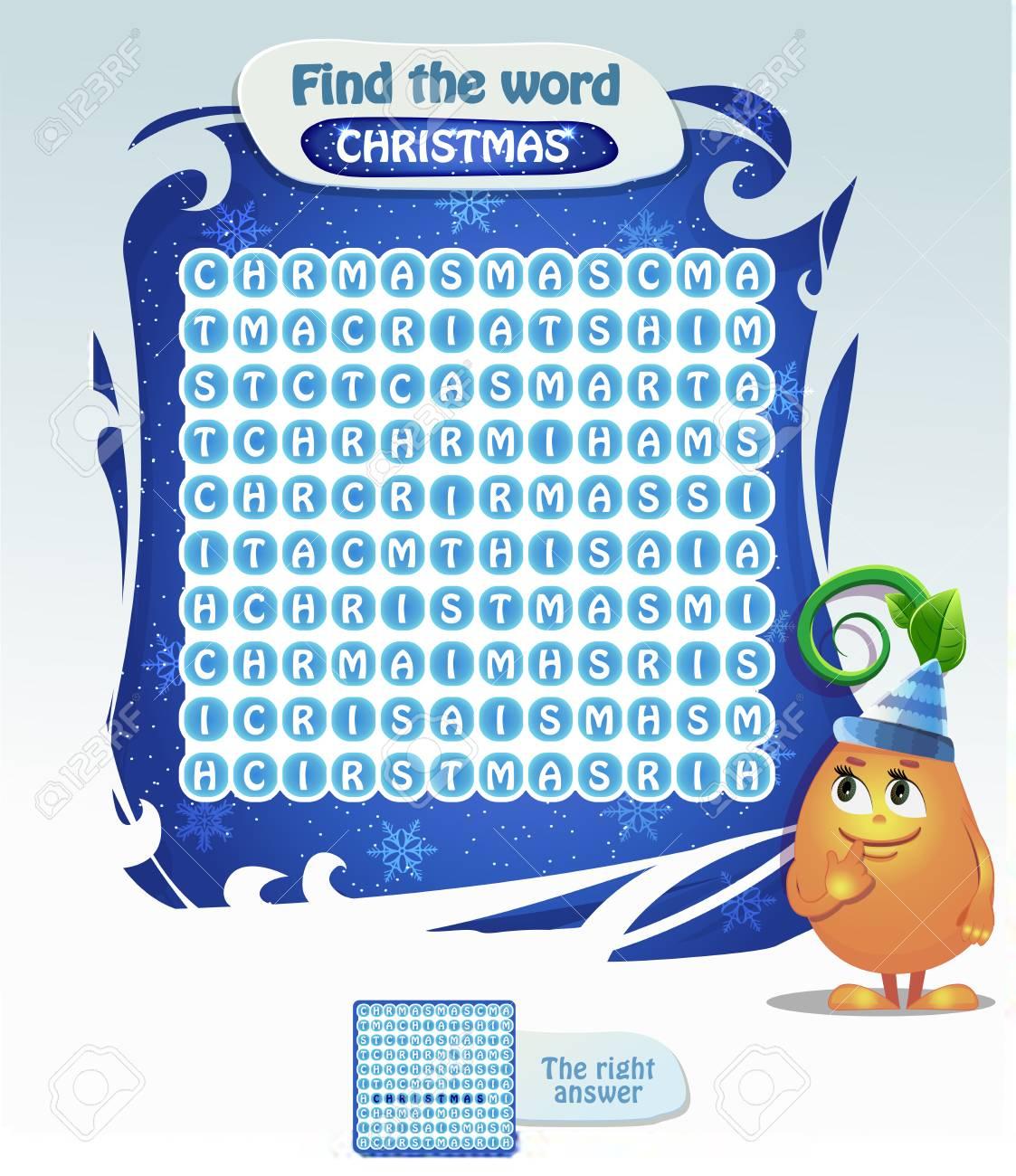 Jeu Visuel Pour Les Enfants. Tâche: Trouver Le Mot Noël. Jeu De Noël Pour  Enfants Et Adultes. dedans Mot Pour Enfant