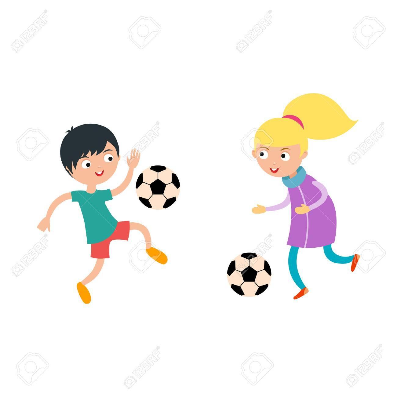 Jeune Enfant Garçon Et Fille Jouant Vecteur Football Illustration. Jeu De  Course De Soccer Sport Actif. Concurrence Activité Des Jeunes Enfants,  Jouer encequiconcerne Jeux Course Enfant