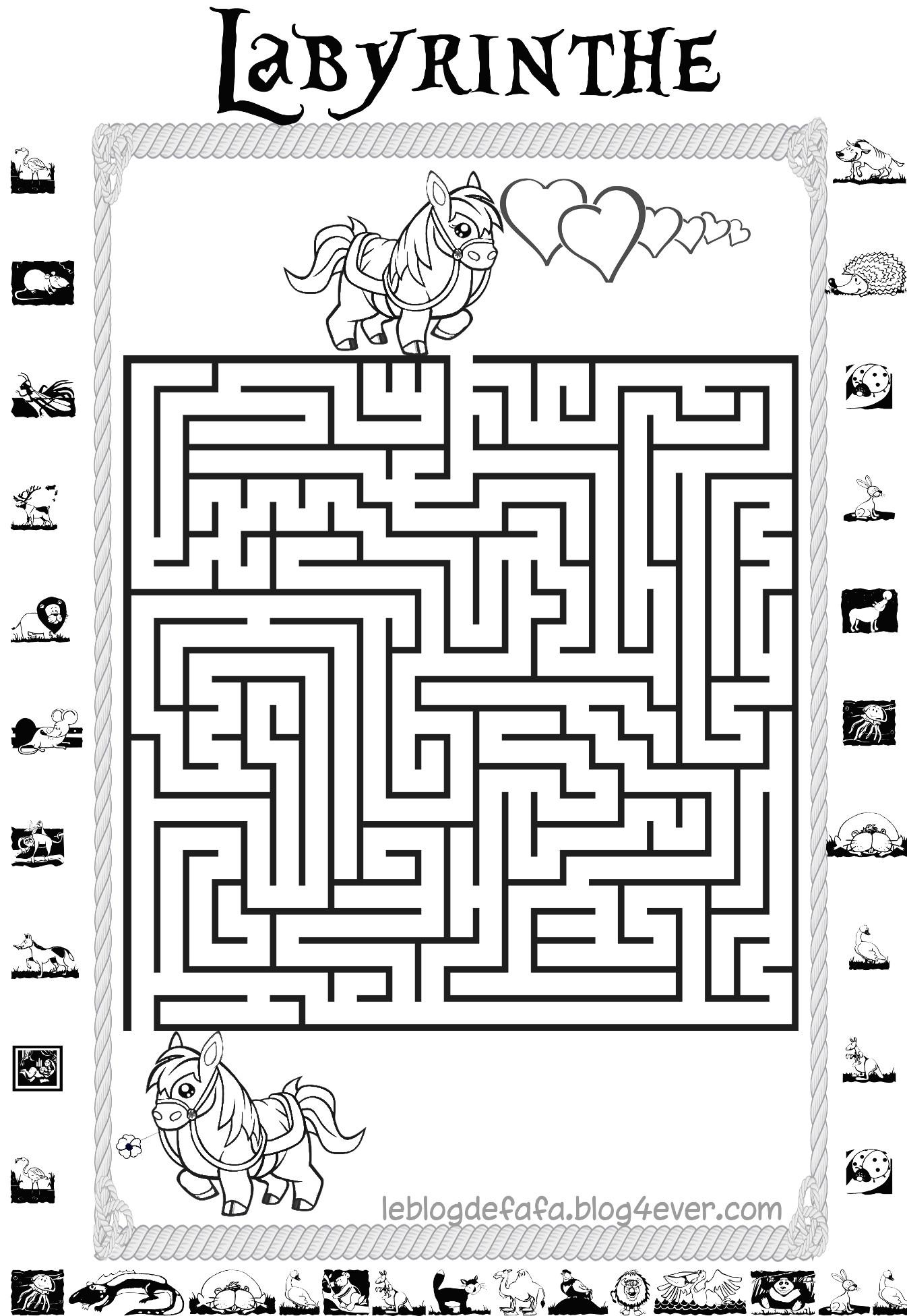 Jeux Chevaux Gratuits À Imprimer : Labyrinthes, Apprendre À intérieur Jeux De Labyrinthe Gratuit