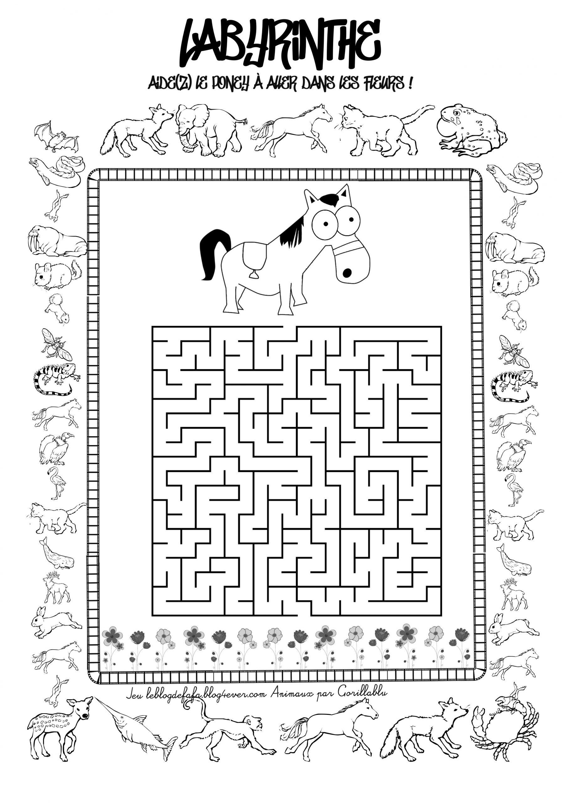 Jeux Chevaux Gratuits À Imprimer : Labyrinthes, Apprendre À serapportantà Jeux Relier Les Points