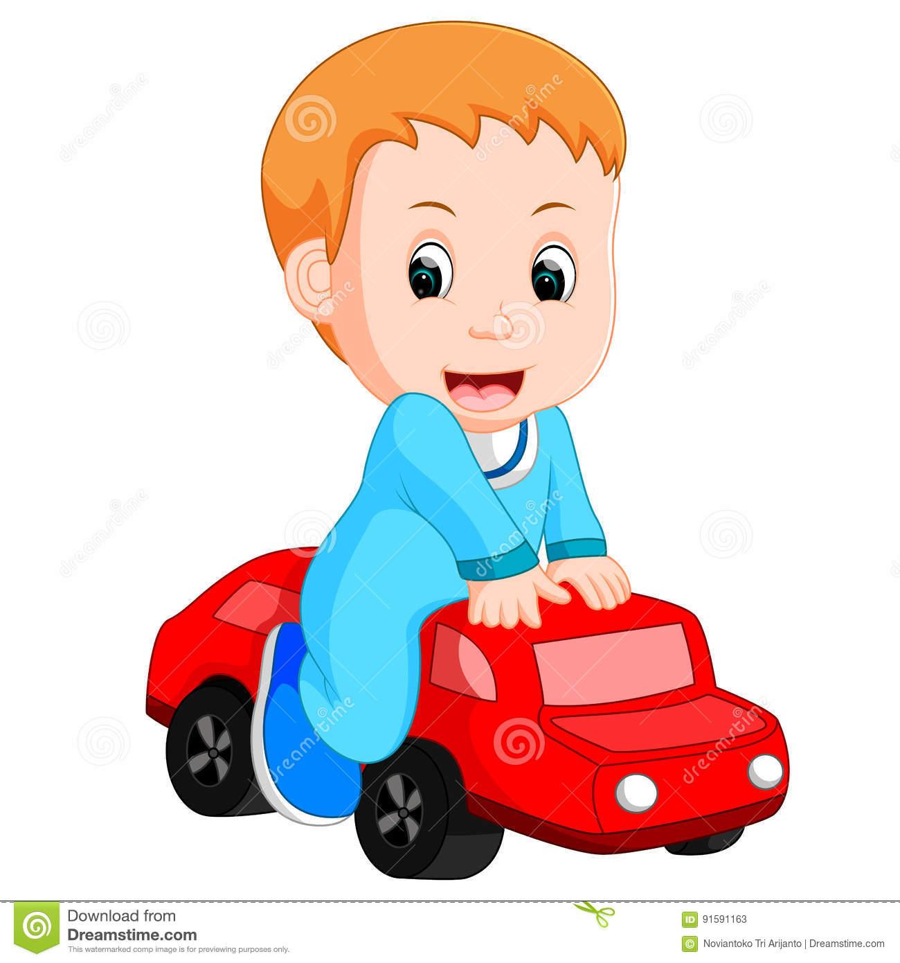 Jeux De Bébé Garçon Avec Une Voiture De Jouet Illustration concernant Jeux Voiture Bebe