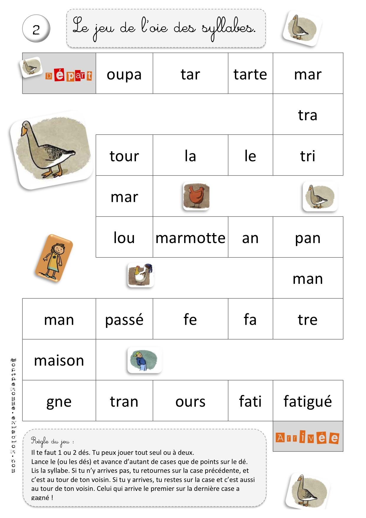 Jeux De L'oie – Combinatoire – Syllabique | Bout De Gomme intérieur Jeux De Lettres À Imprimer