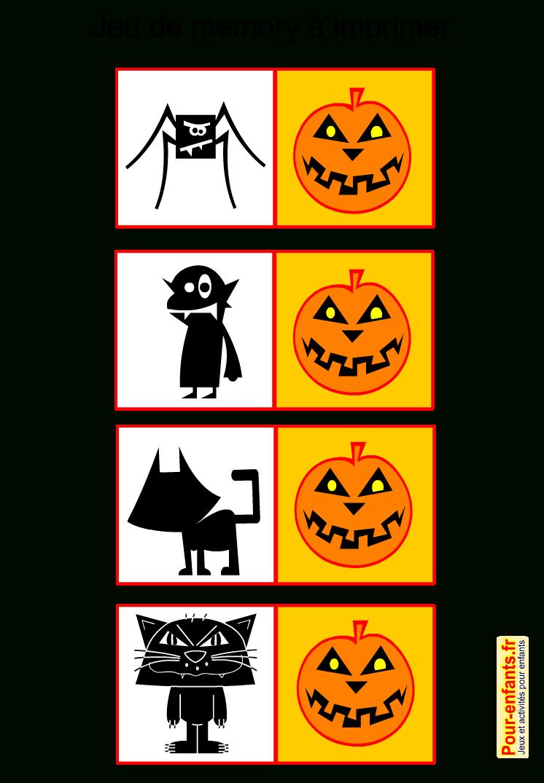 Jeux De Memory Halloween À Imprimer Gratuit Mémory Mémory destiné Jeux De Memoire Gratuit Pour Enfant