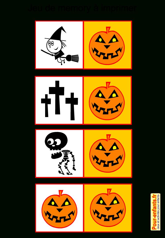 Jeux De Memory Halloween À Imprimer Gratuit Pour Enfants à Memory Enfant Gratuit