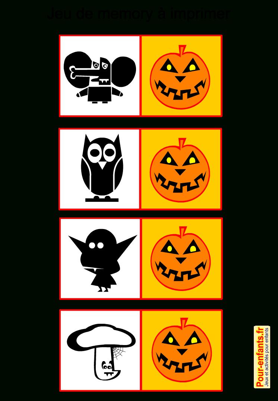 Jeux De Memory Halloween À Imprimer Gratuit Pour Enfants encequiconcerne Memory Enfant Gratuit
