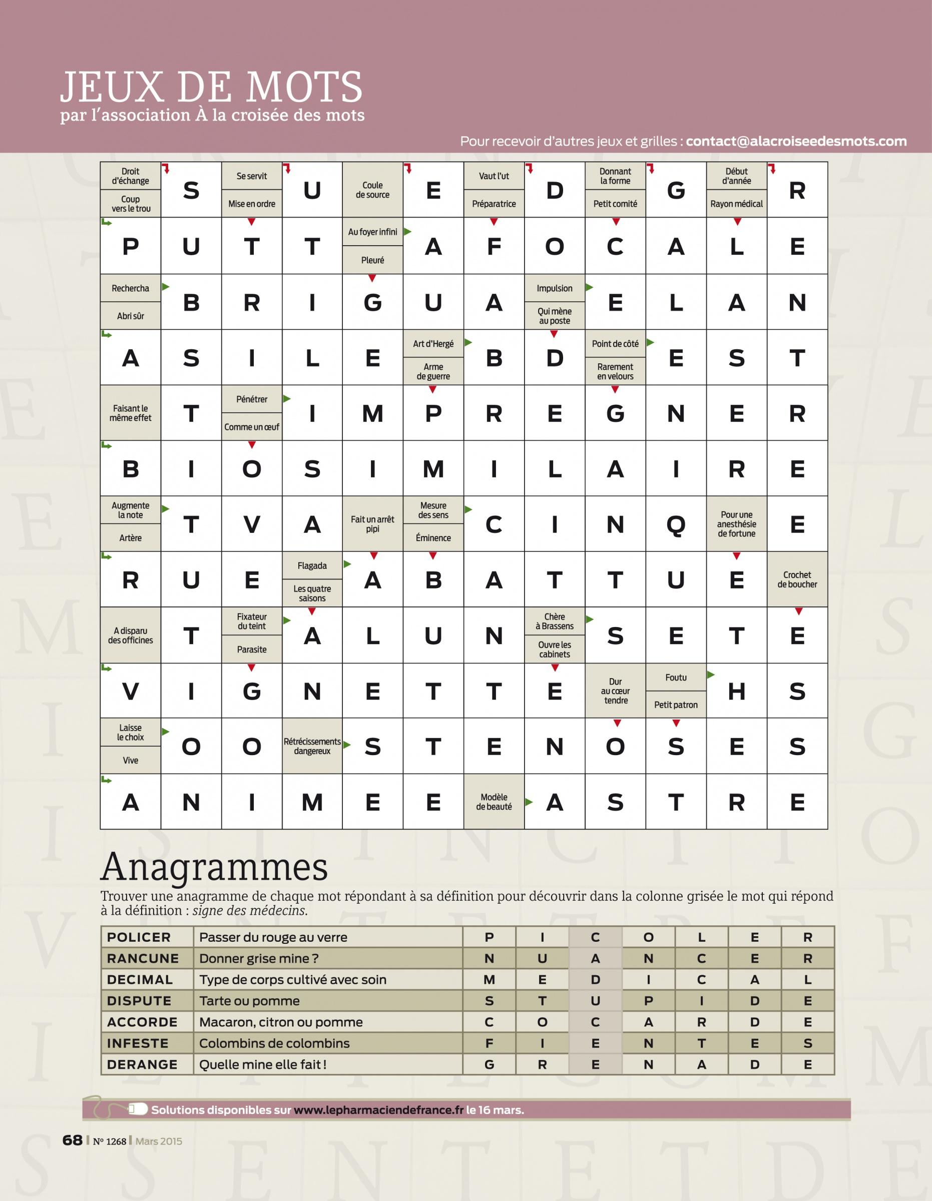 Jeux De Mots | Le Pharmacien De France - Magazine intérieur Anagrammes À Imprimer