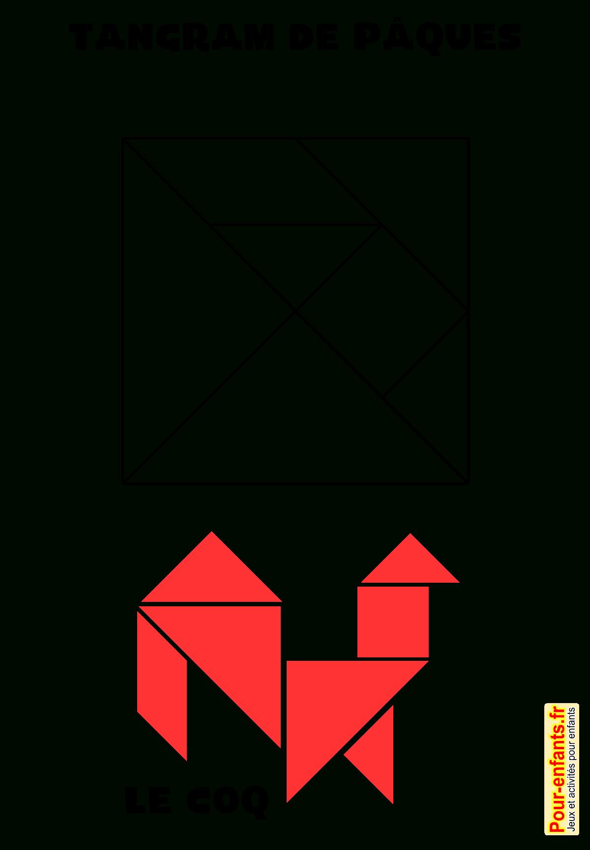 Jeux De Paques À Imprimer Tangram Dessin De Coq Jeu De dedans Découpage Collage A Imprimer