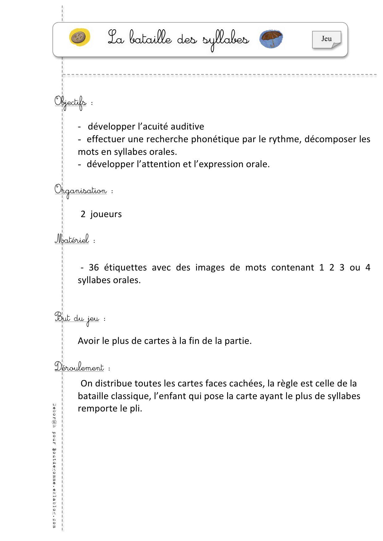 Jeux De Phonologie - Bout De Gomme | Syllabes, Lecture En dedans Jeux 3 À La Suite