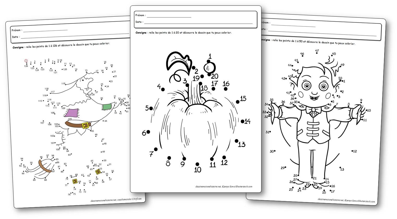 Jeux De Points À Relier Pour Halloween - Points À Relier avec Découpage Maternelle À Imprimer
