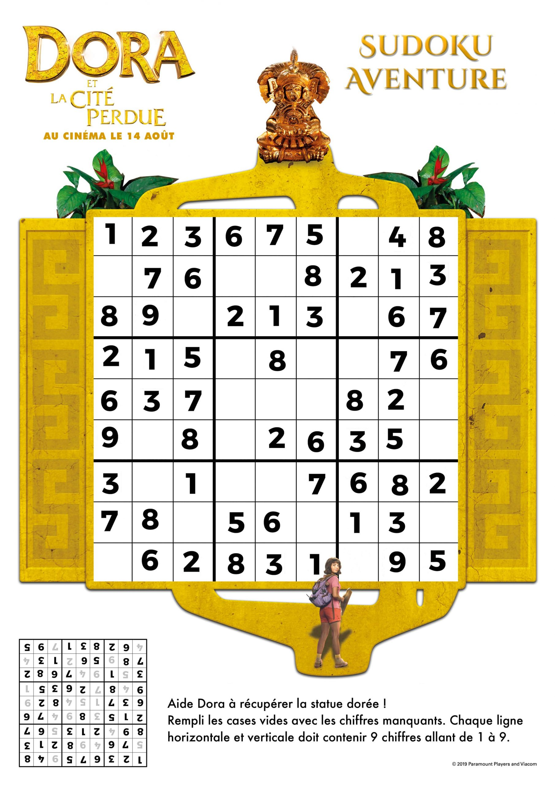 Jeux De Sudoku Dora Et La Cite Perdue N°2 - Fr.hellokids pour Sudoku A Imprimer