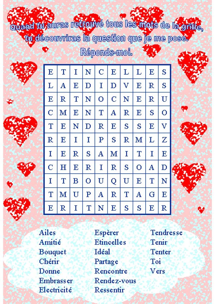 Jeux De Vocabulaire De La Saint-Valentin - Fr.hellokids destiné Mots Croisés Gratuits À Imprimer
