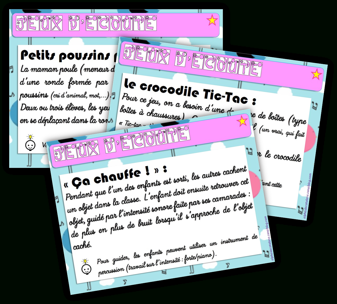 Jeux D'écoute - Les Alphas De Lacatalane destiné Jeux Maternelle Moyenne Section
