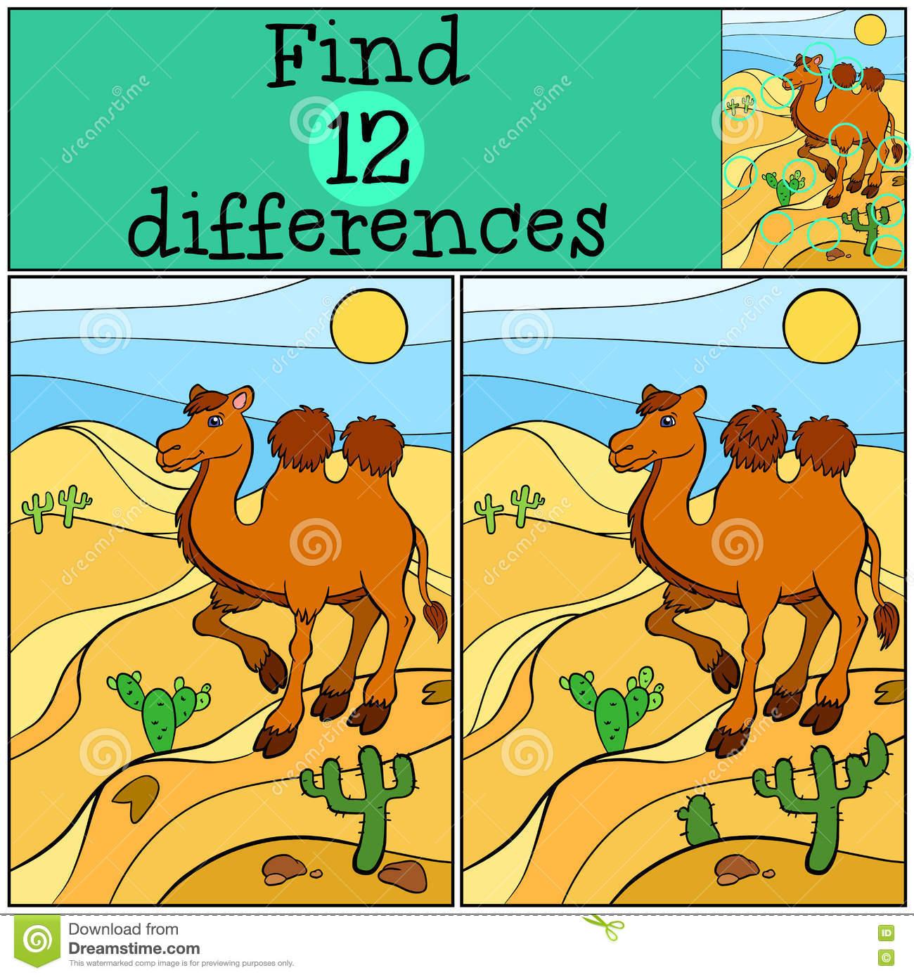 Jeux D'enfants : Différences De Découverte Chameau Mignon concernant Jeux De Différence