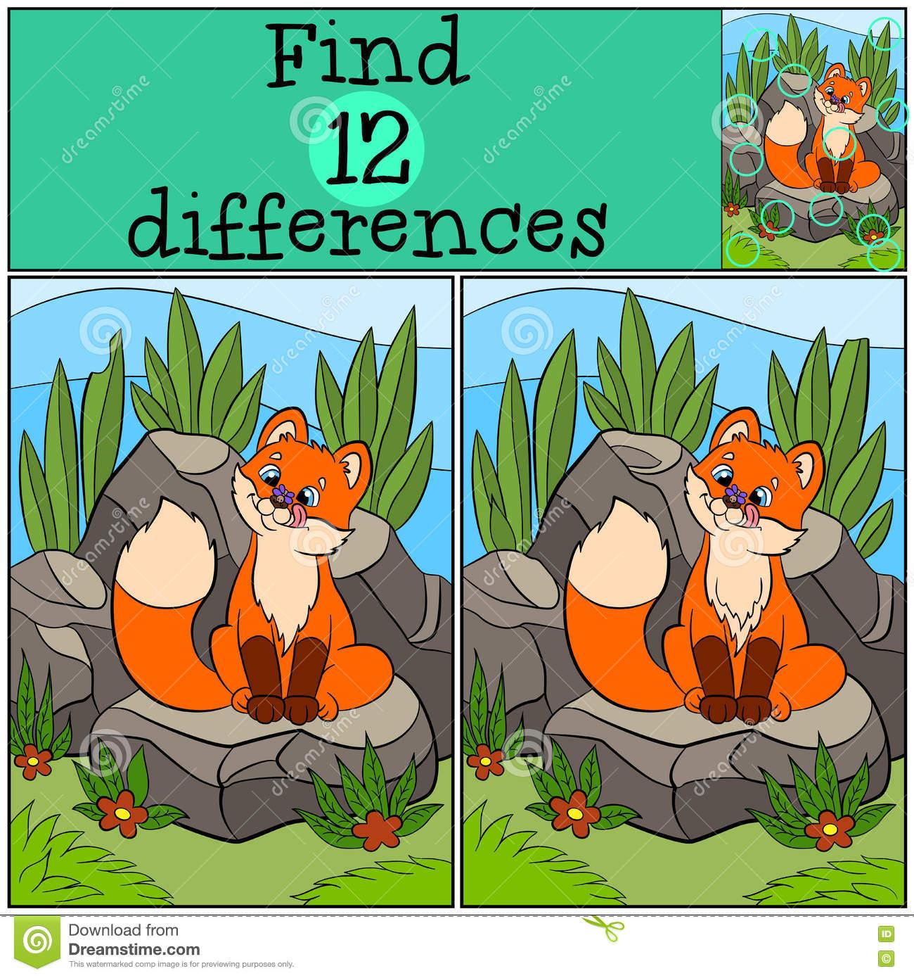 Jeux D'enfants : Différences De Découverte Le Petit Renard destiné Jeux De La Différence