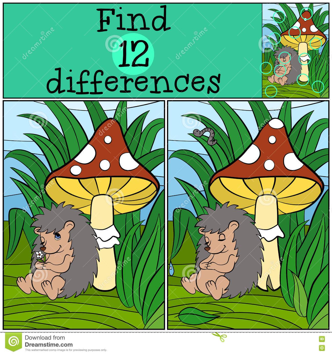Jeux D'enfants : Différences De Découverte Petit Hérisson tout Jeux De La Différence