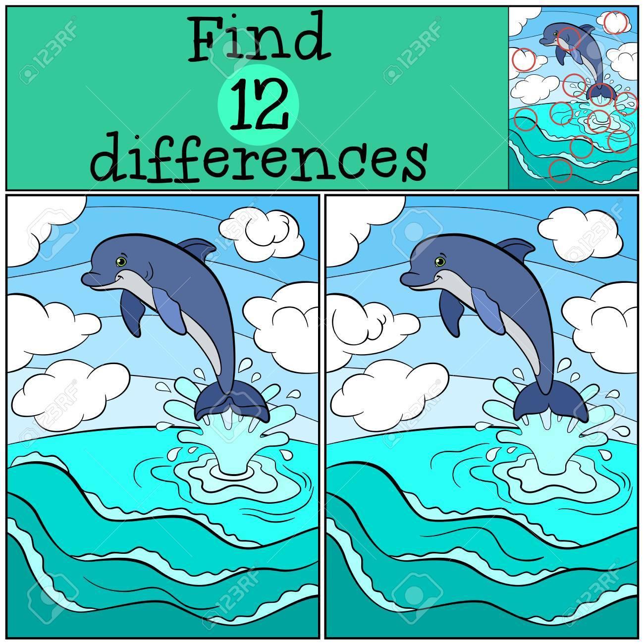 Jeux D'enfants: Trouver Des Différences. Petit Dauphin Mignon Saute Hors De  L'eau Et Des Sourires. avec Jeux De Différence