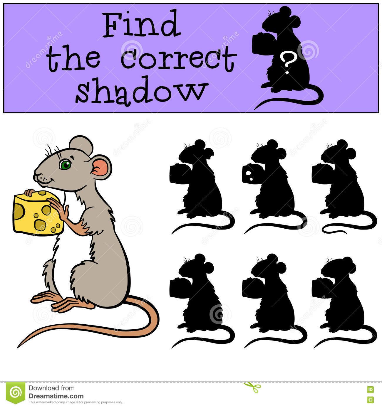 Jeux D'enfants : Trouvez L'ombre Correcte Petite Souris à Jeux De La Petite Souris