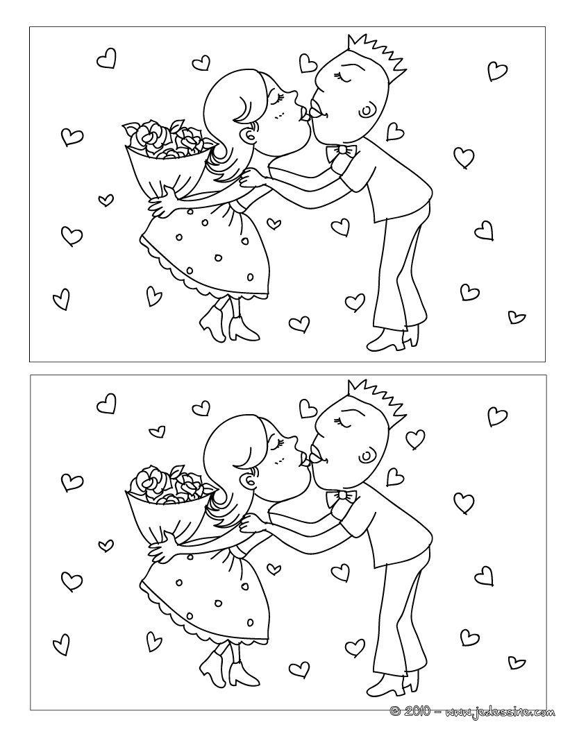 Jeux Des 5 Différences Bisous | Activités De Mariage Pour intérieur Jeux Des Différences À Imprimer Pour Adultes