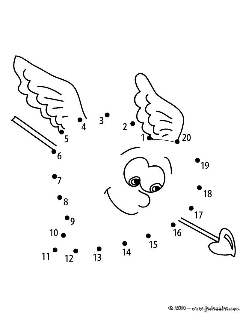 Jeux Des Points À Relier Saint Valentin - Coeur Fléché pour Jeux Point À Relier