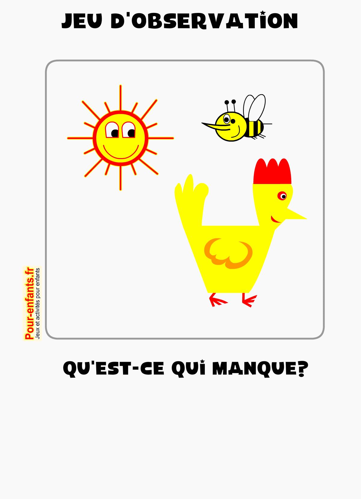 Jeux D'observation Maternelle Imprimer Ps Ms Gs Enfants Gratuit avec Jeux Gratuit Maternelle