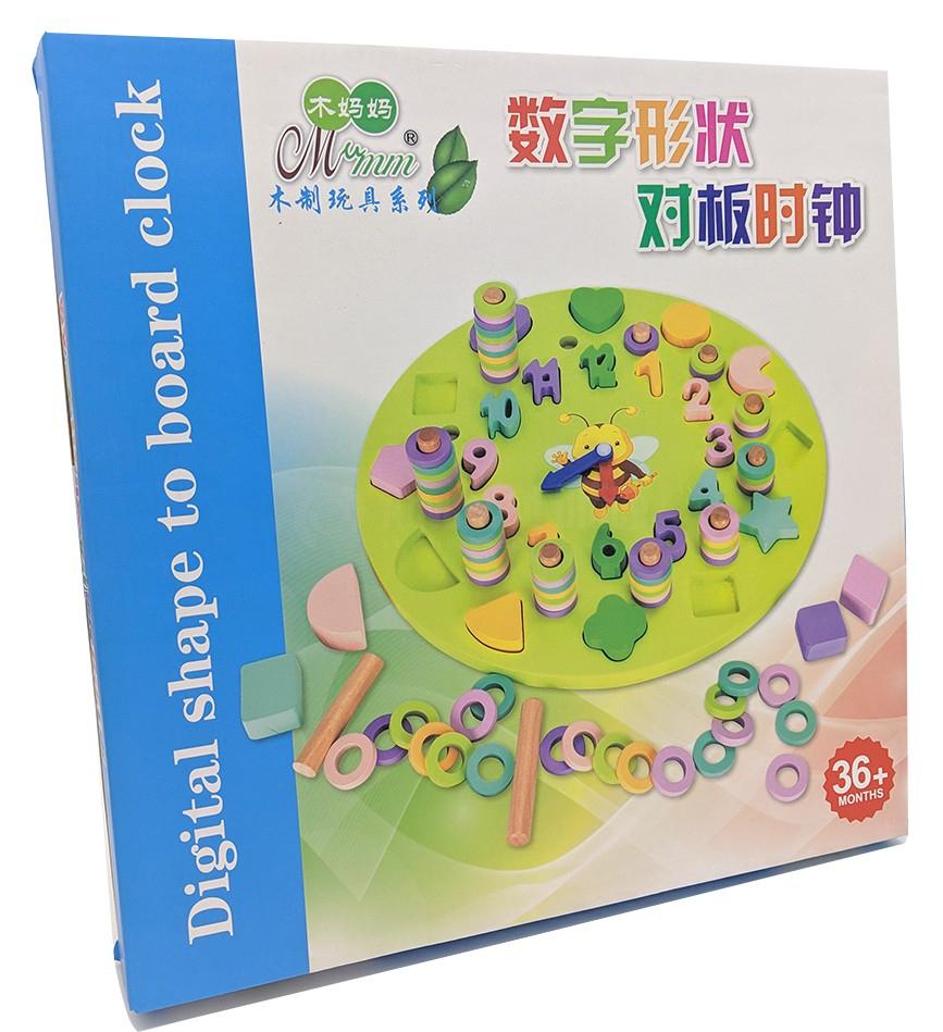 Jeux Éducatif Horloge Cadran Puzzle En Bois Figure Géométrique Et Chiffres  Pour Enfant +3 Ans tout Jeu Educatif 3 Ans
