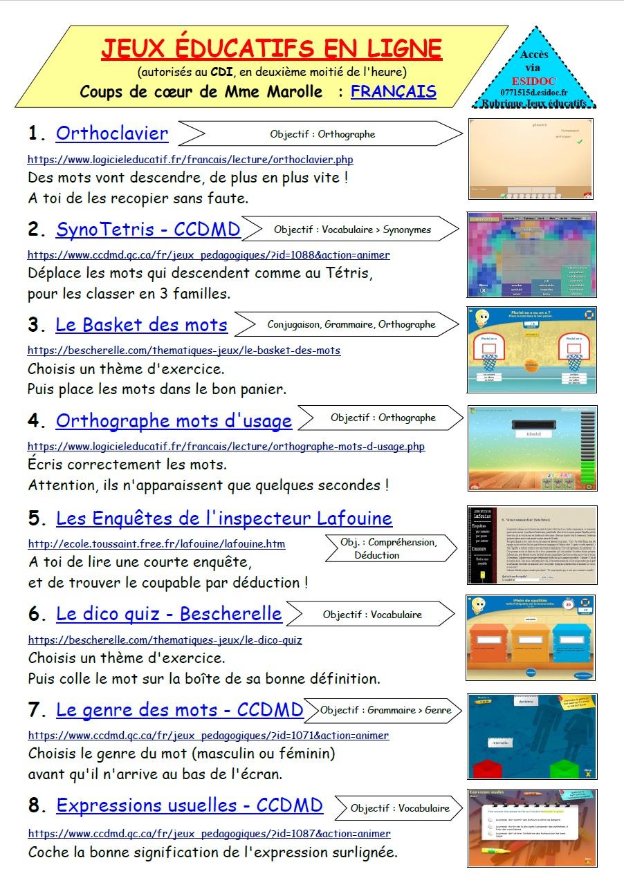 Jeux Éducatifs En Ligne -Collège Lelorgne De Savigny tout Jeux Pédagogiques En Ligne