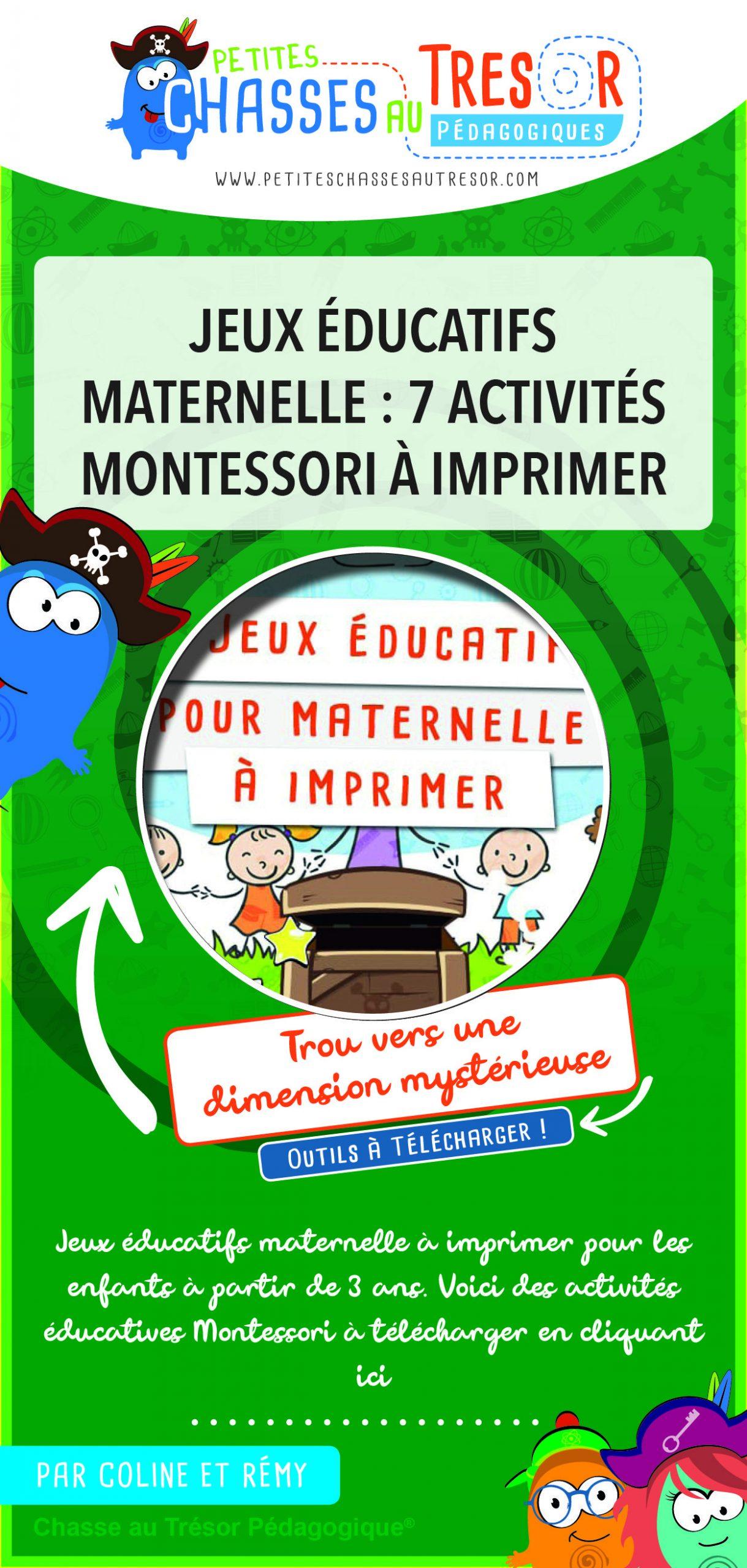 Jeux Éducatifs Maternelle : 7 Activités Montessori À dedans Jeux À Imprimer 3 Ans