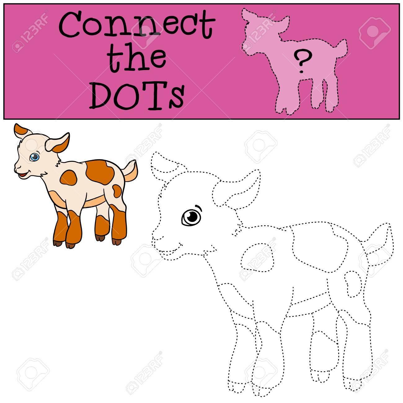 Jeux Éducatifs: Relier Les Points. Petits Mignons Peuplements Bébé De  Chèvre Et Des Sourires. encequiconcerne Jeux A Relier