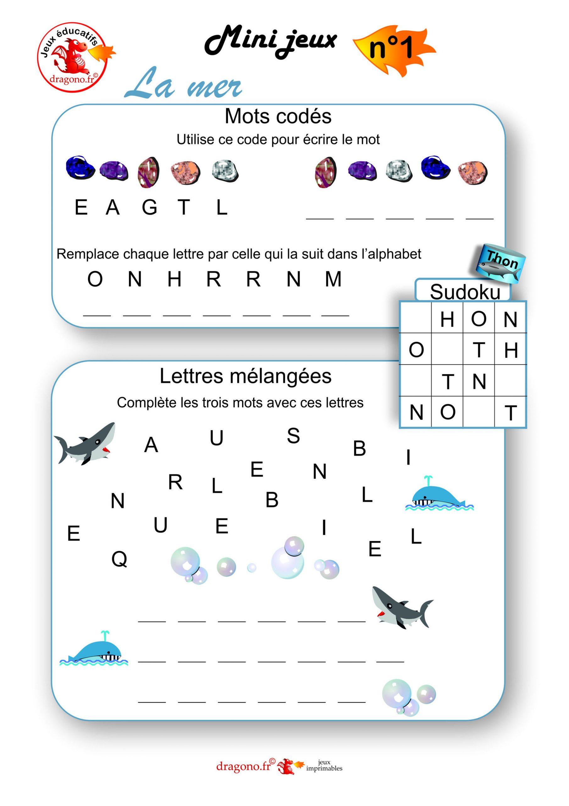Jeux Éducatifs Sur La Mer - Dragono.fr tout Sudoku Lettres À Imprimer