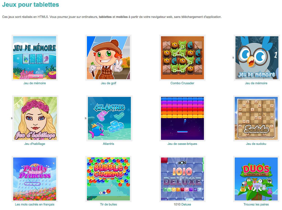 Jeux Ludiques Pour Tablettes #html5 #primaire #préscolaire concernant Jeux De Mimoire