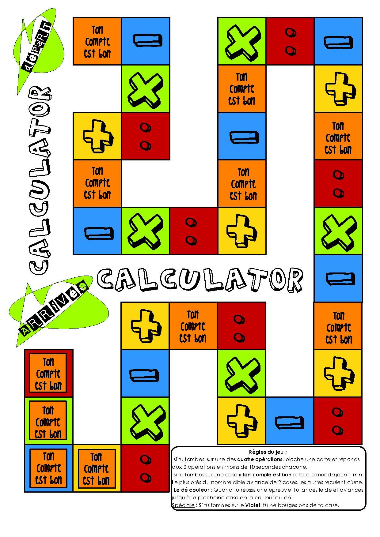 Jeux Pour La Classe] Mathématiques Calcul – Calculator concernant Jeux Mathématiques À Imprimer