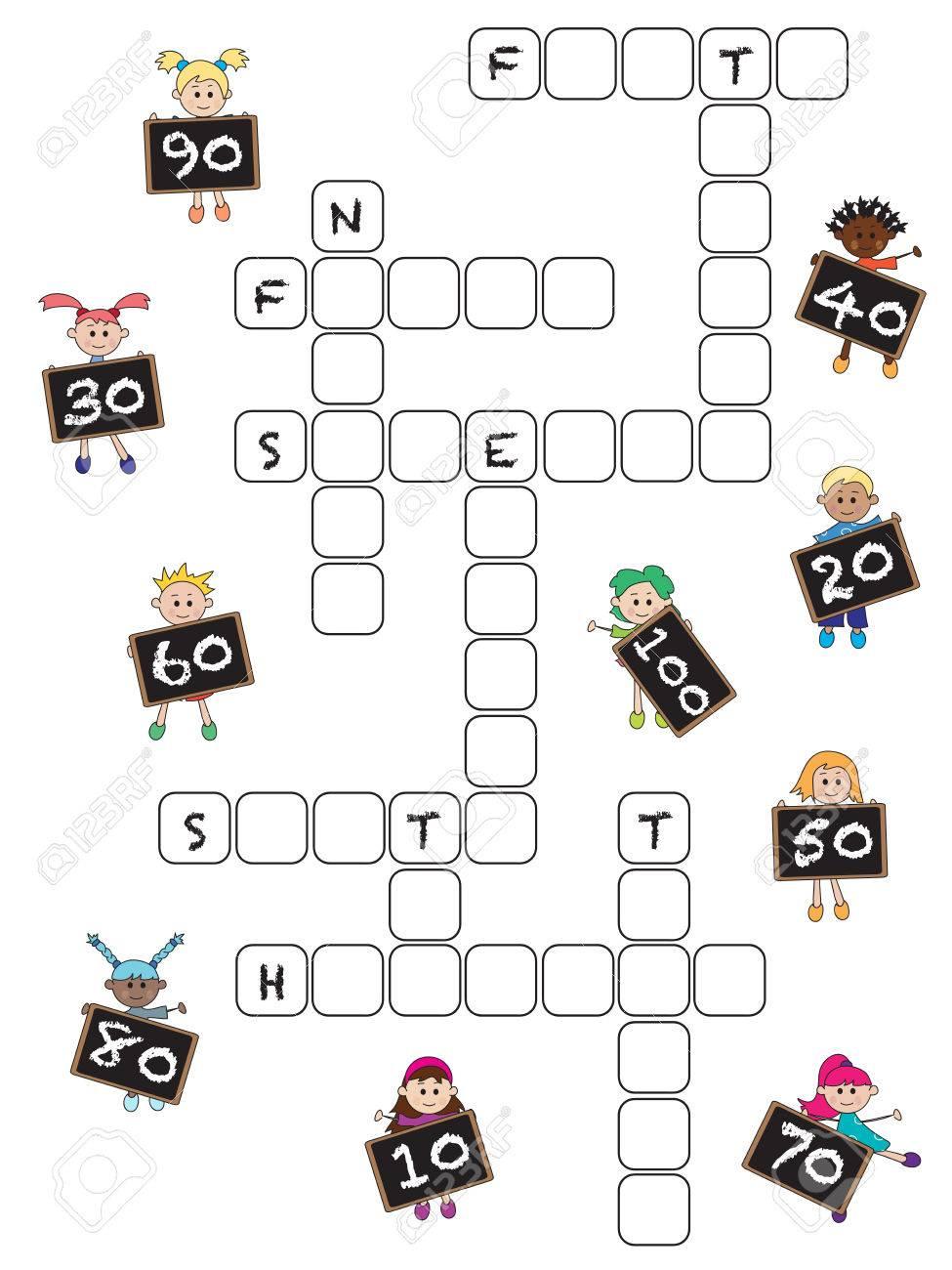 Jeux Pour Les Enfants: Mots Croisés Avec Des Nombres De Dix À Cent pour Mots Croisés Avec Image
