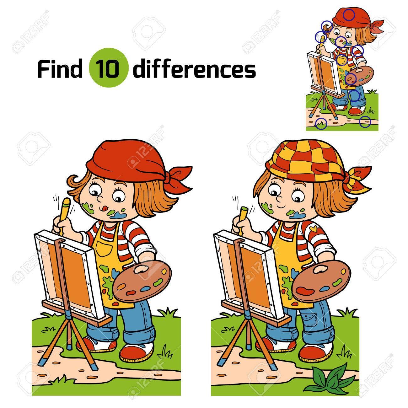 Jeux Pour Les Enfants: Trouver Les Différences (Artiste Fille Appuie Sur La  Nature, Plein Air) serapportantà Jeux De Intelligence De Fille