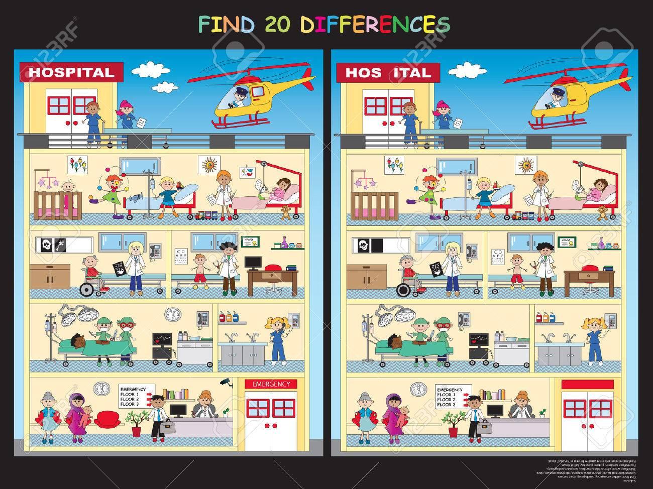 Jeux Pour Les Enfants: Trouver Les Vingt Différences Dans L'hôpital tout Jeux De La Différence