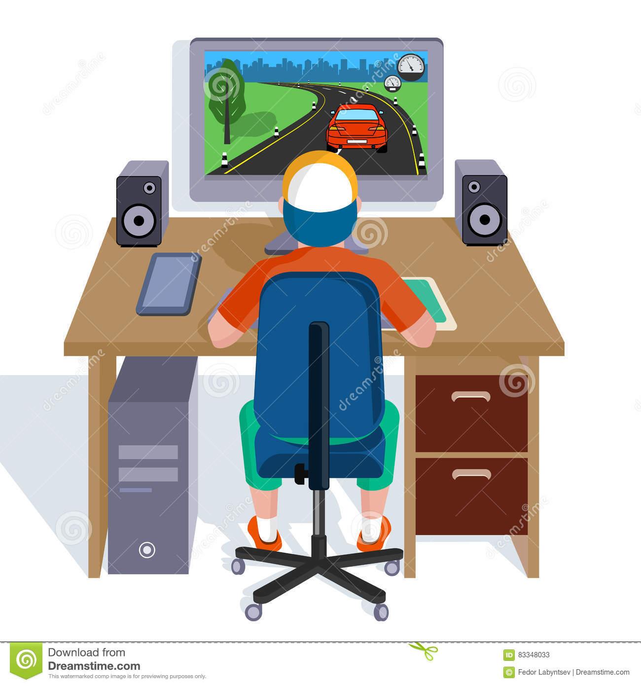 Jeux Vidéo De Jeux D'enfant Sur L'ordinateur Illustration De tout Jeux Ordinateur Enfant