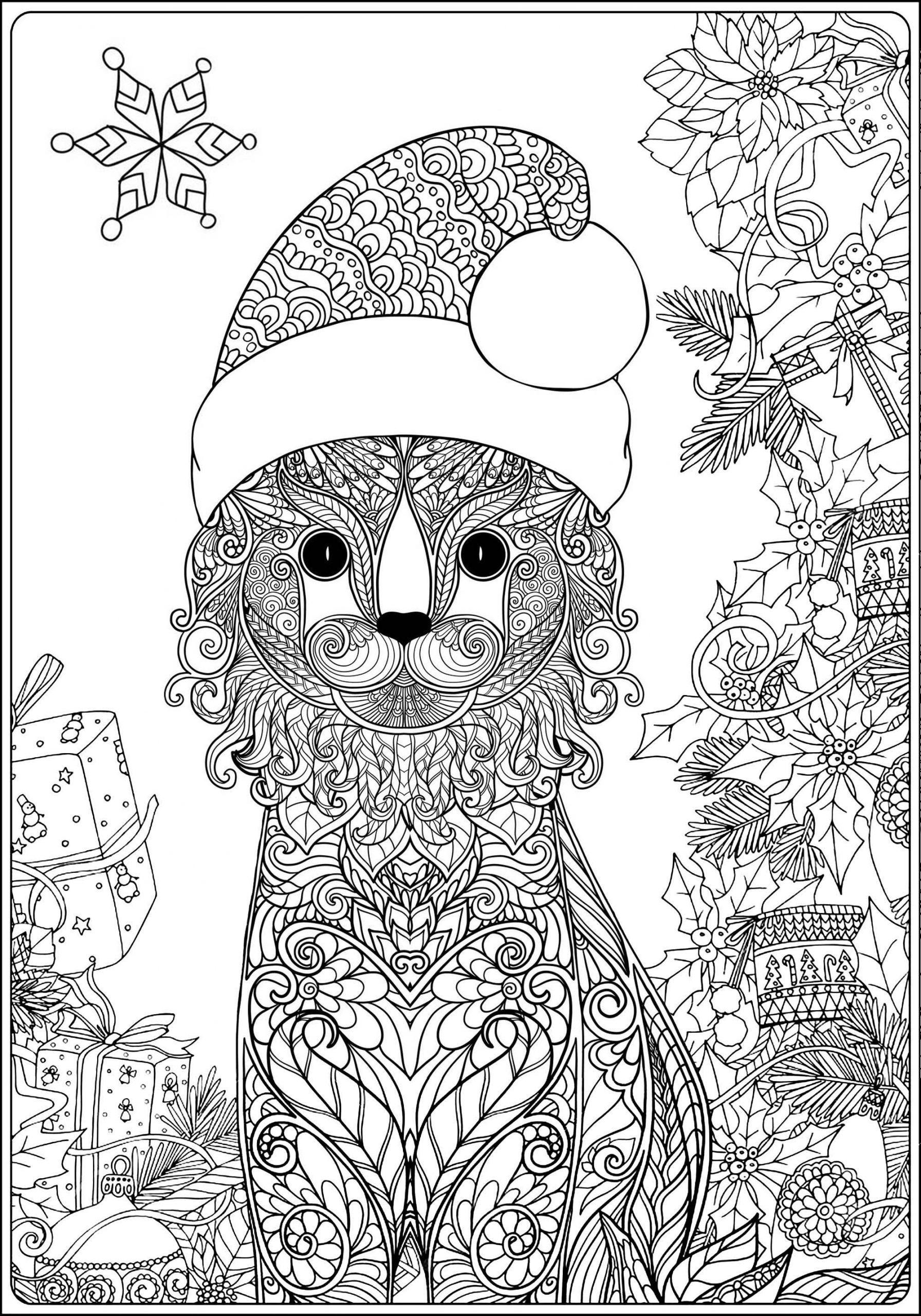 Joli Chat Et Son Chapeau De Père Noël - Noël - Coloriages dedans Coloriage De Chat De Noel