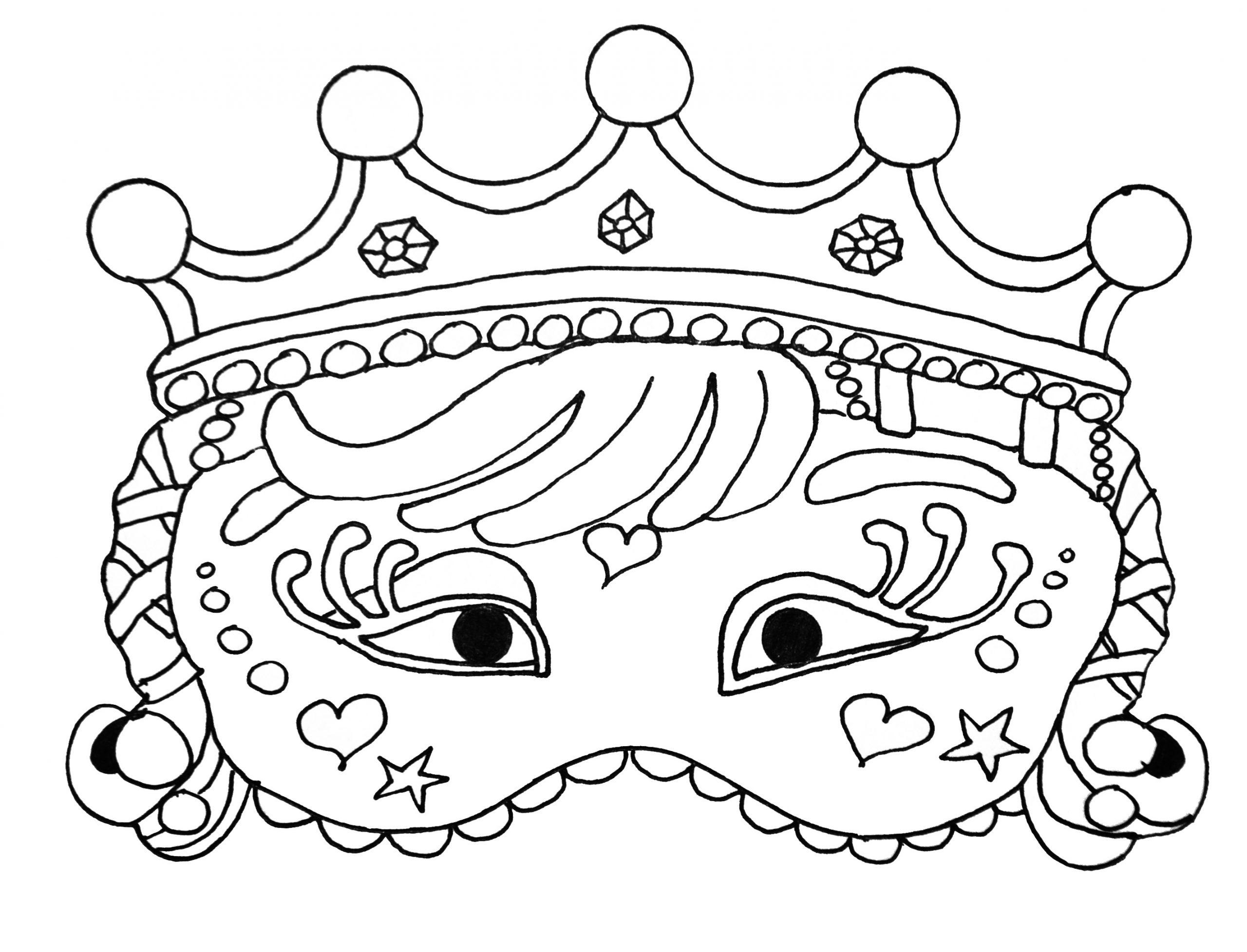 Joli Masque De Carnaval - Coloriage De Masques - Coloriages pour Masque Enfant A Colorier