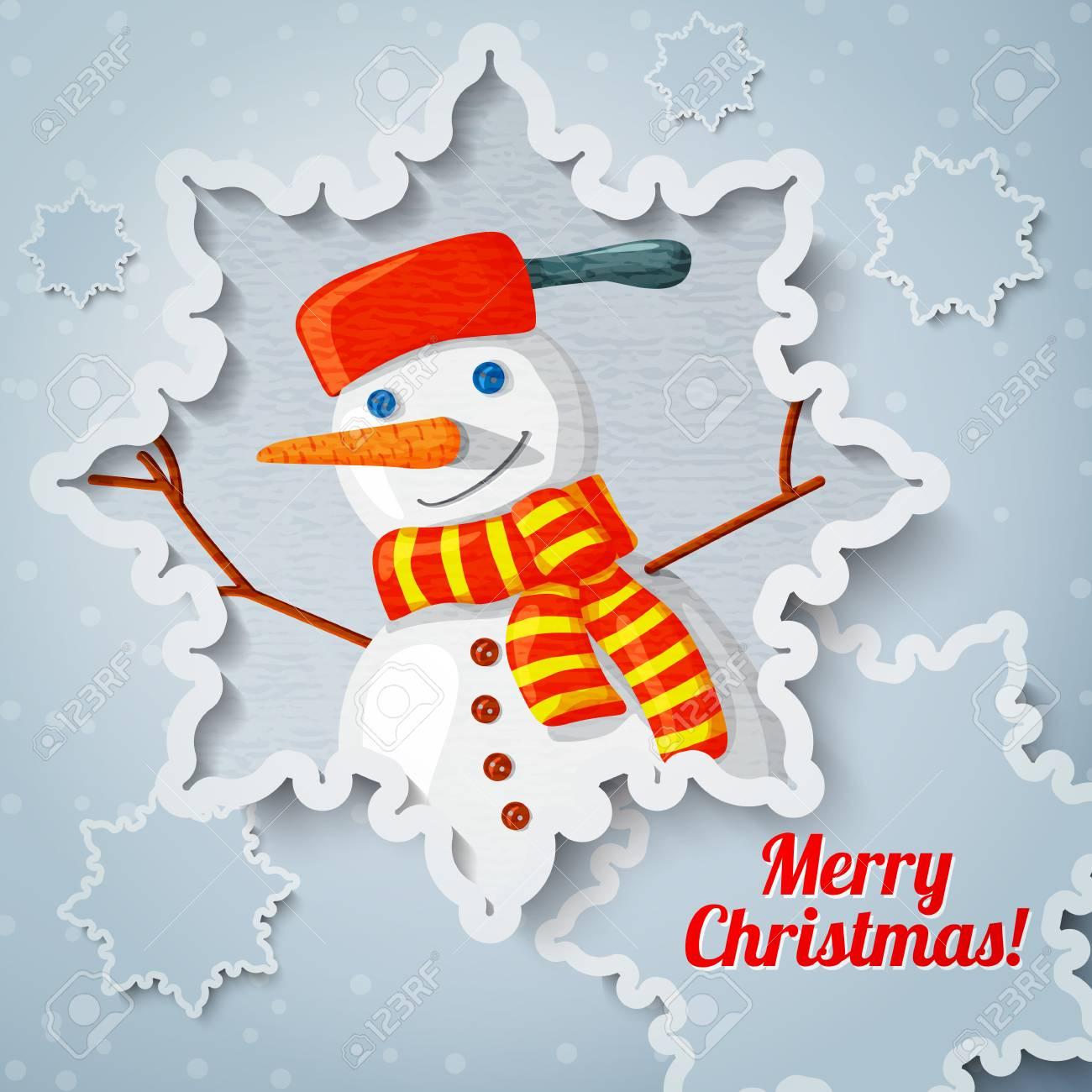 Joyeux Noël Et Une Nouvelle Carte De Voeux D'année Avec Du Papier Découpé  Flocon De Neige, Et L'image De La Nouvelle Année Bonhomme De Neige Avec Un concernant Bonhomme De Neige À Découper