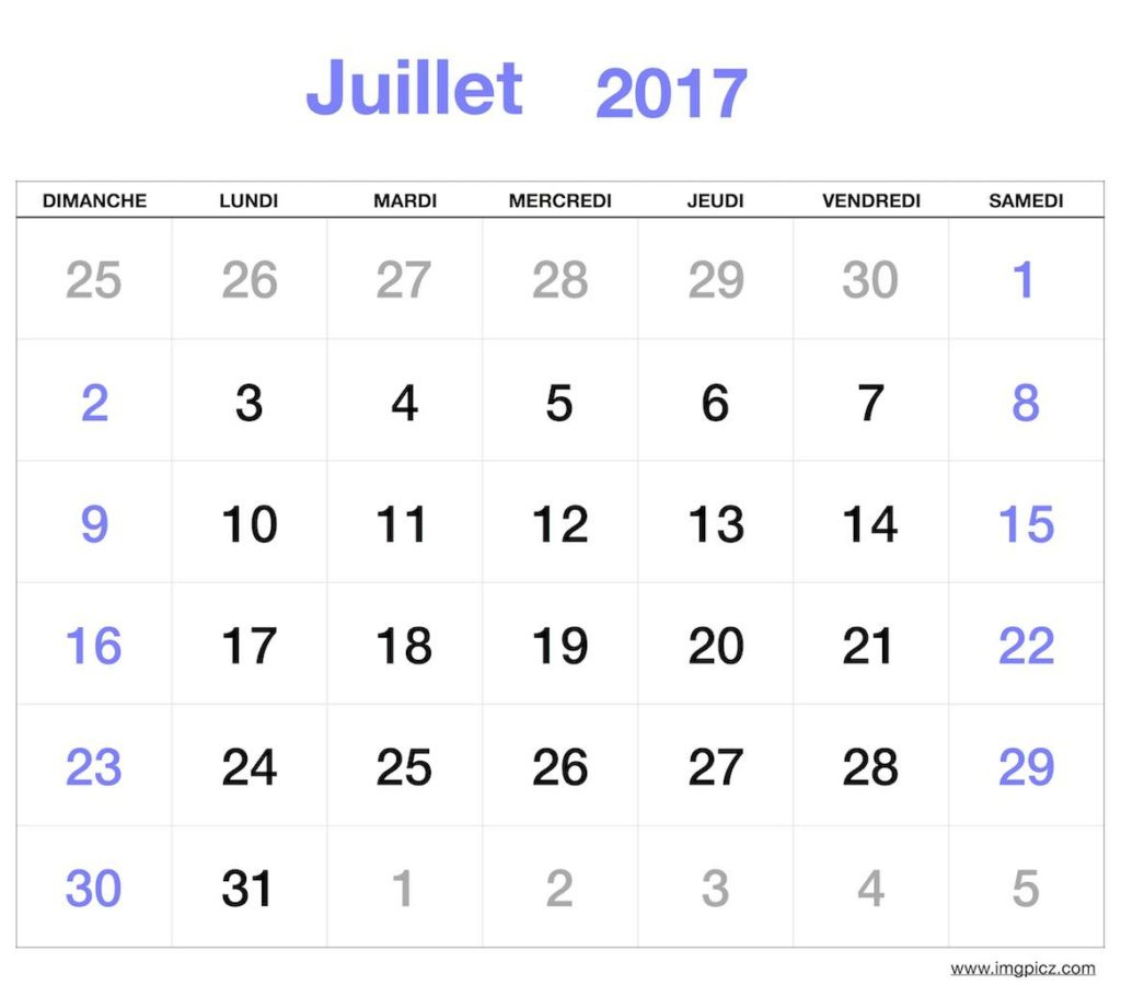 Juillet 2017 Calendrier Imprimable | Calendrier Juillet 2017 destiné Calendrier 2017 Imprimable