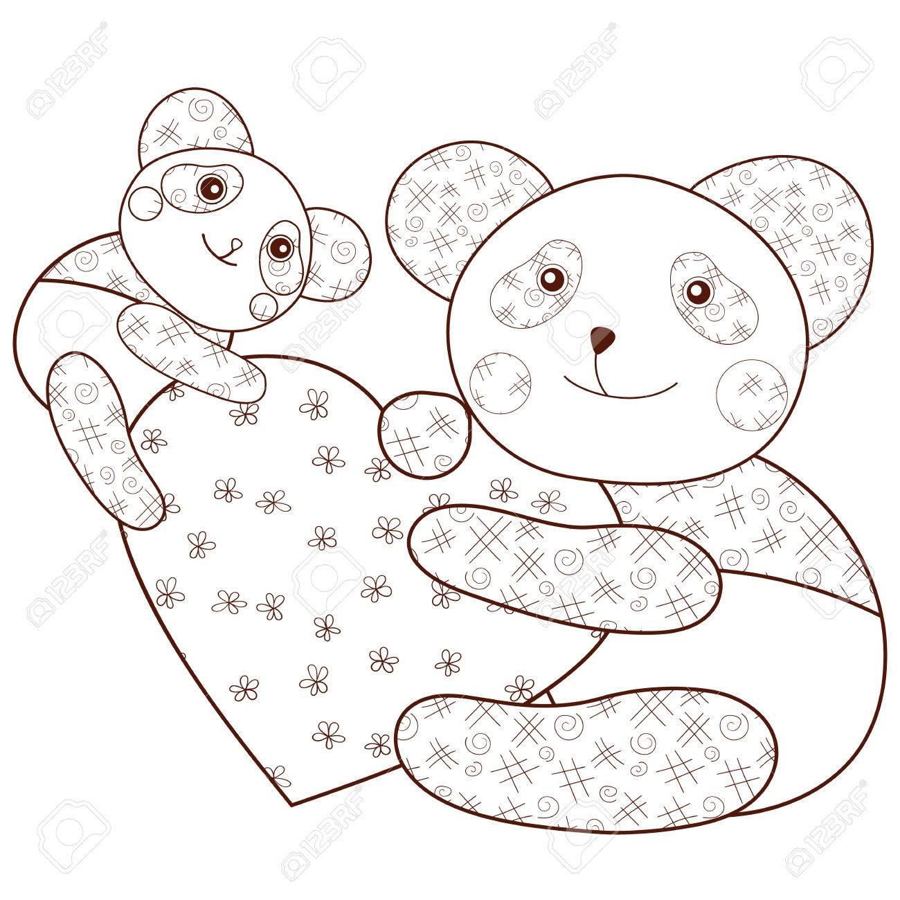 Kid Coloriage Livre Panda Mignon Avec Le Coeur Et Le Bébé Panda. Contour  Brown. Line Lunatiques Art Vector Illustration. destiné Panda À Colorier