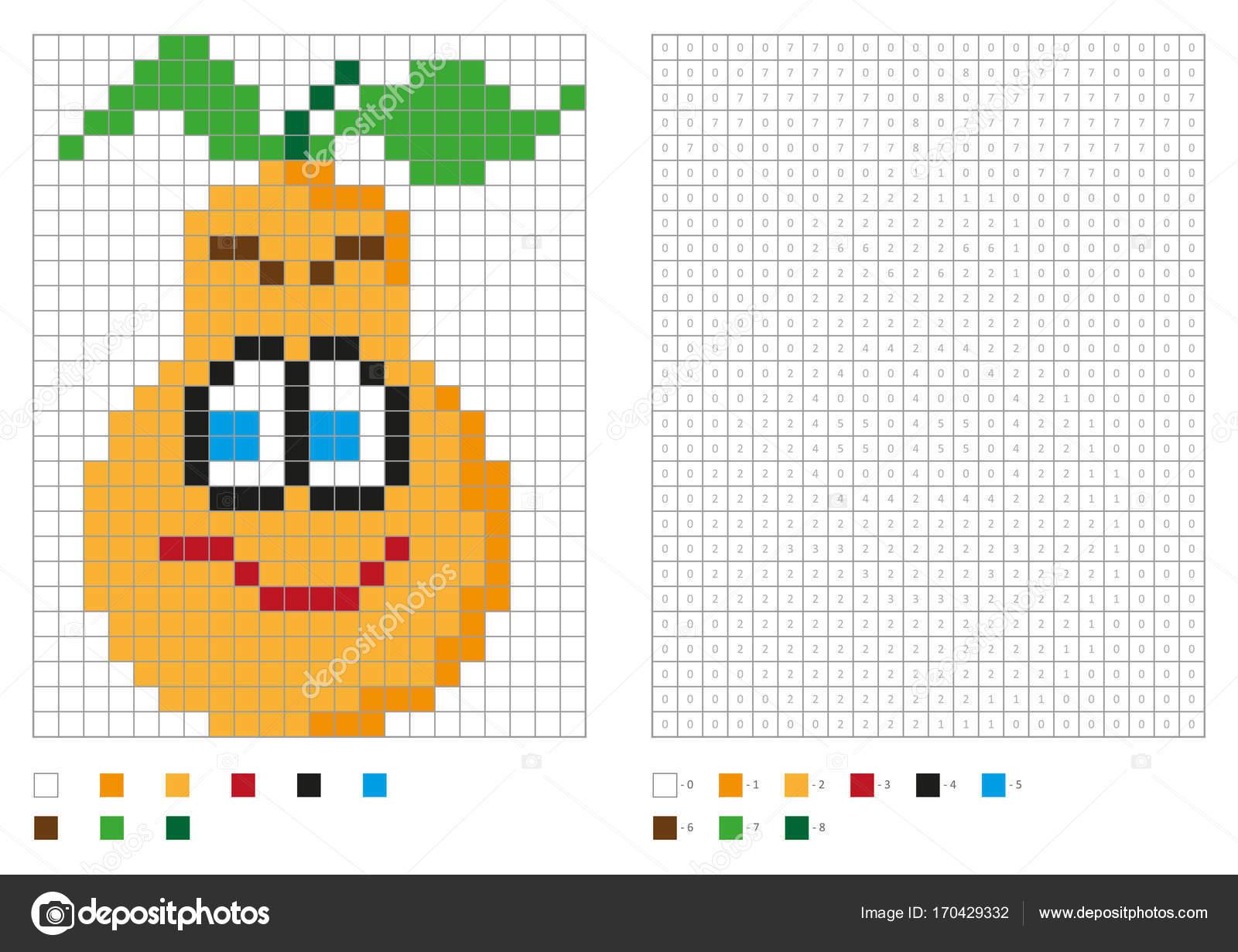 Kids Coloring Page Pixel Coloring Funny Pear Vector avec Pixel A Colorier