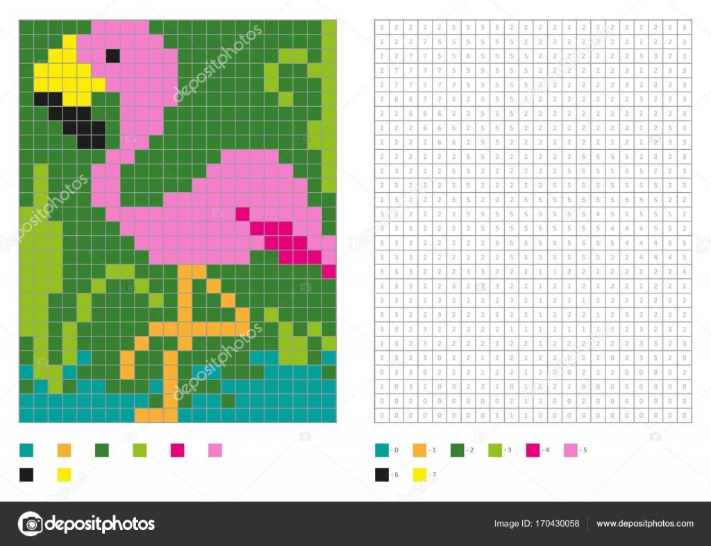 Kids Coloring Page, Pixel Coloring With Fun Bird — Stock intérieur Pixel A Colorier