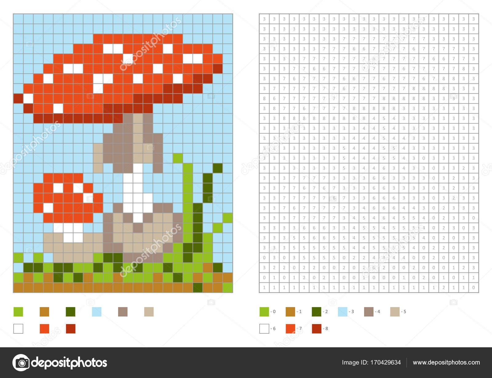 Kids Coloring Page, Pixel Coloring With Poisonous Mushroom concernant Pixel A Colorier