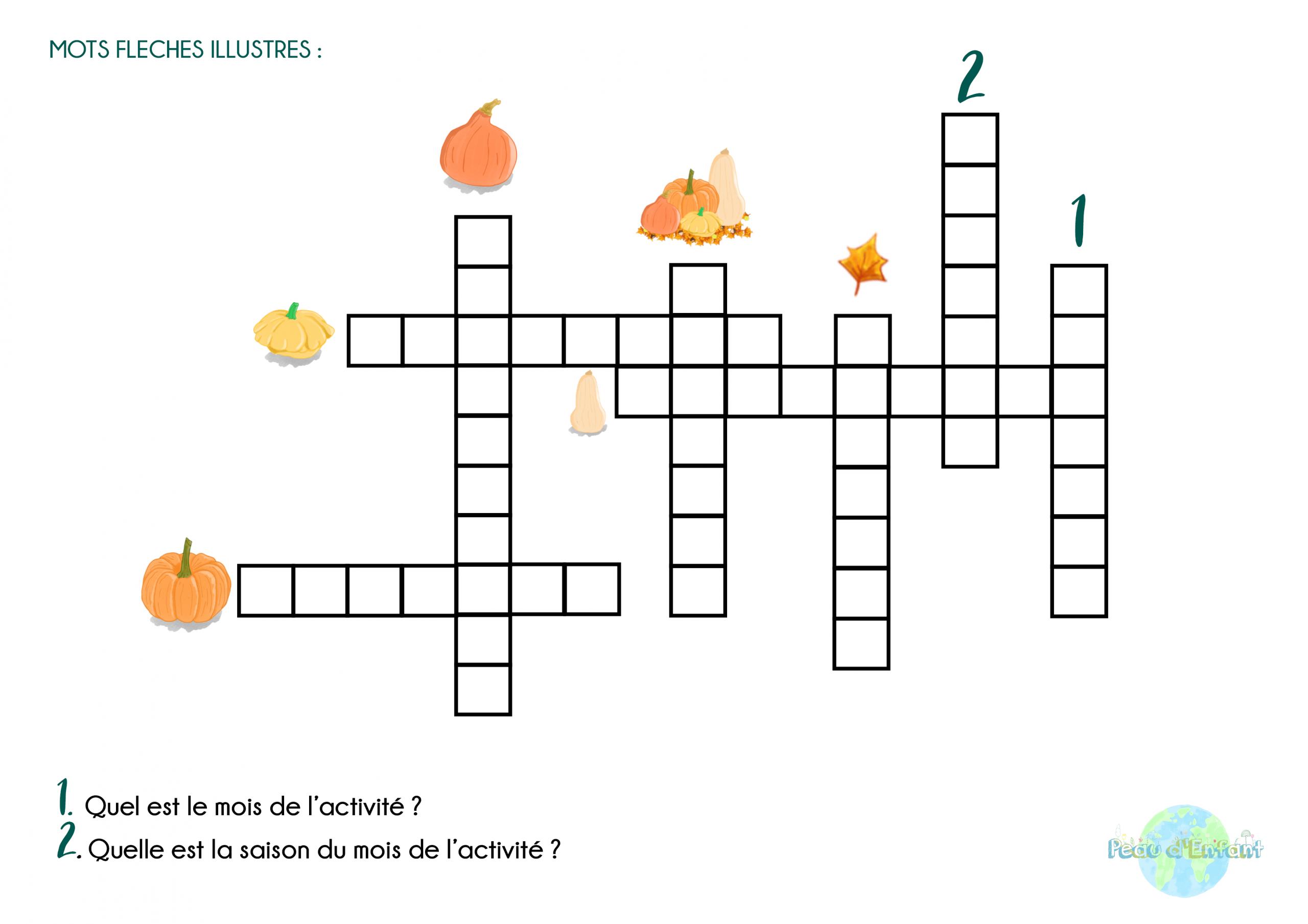 Kit Activités Fruits Et Légumes : Octobre Et Les Courges serapportantà Mots Fleches Enfants