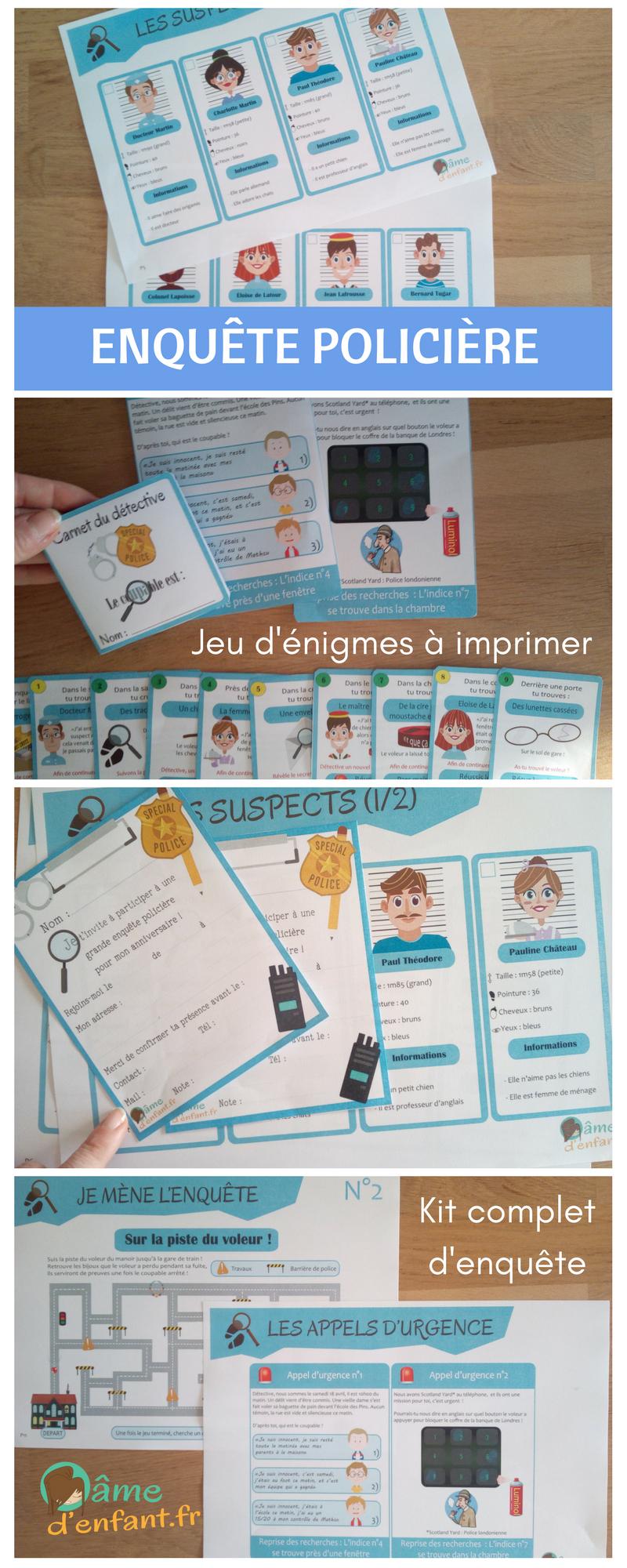 Kit Complet D'enquête Policière À Imprimer Pour Enfant À encequiconcerne Activité Primaire A Imprimer