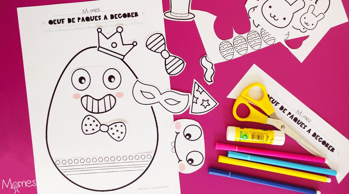 Kit De Décoration Oeuf De Pâques À Imprimer - Momes à Découpage Collage A Imprimer